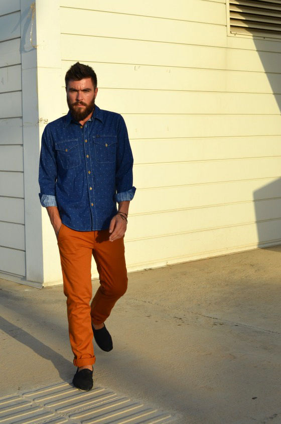 Men's street style chinos denim shirt