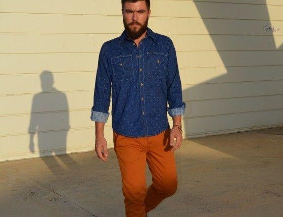 Men's street style chinos denim shirt
