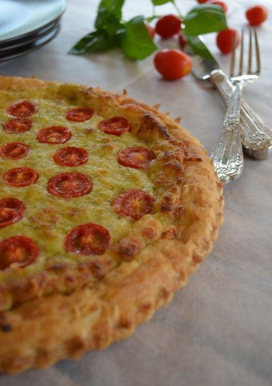 cherry tomato basil pesto mozzarella tart recipe