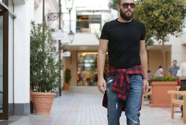grunge denim black t-shirt street style man fashion blogger balmain boss cool artisan Γαβριήλ Νικολαΐδης