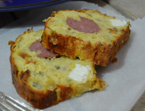 Leek cake with sausage and feta cheese