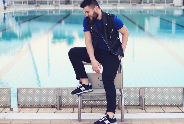 man, fashion, street style, mens fashion, blogger, lookbook, summer 2014, leather vest, blue T-shirt, black pants, new balance, asos, topman, zara