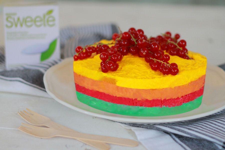 rainbow cake, γλυκό, πολύχρωμο, γιαούρτι, sweete stevia, light, διαίτα, συνταγή, απλή, εύκολη, ζελέ, φράουλα, ανανάς, ακτινίδιο, πορτοκάλι, cool artisan