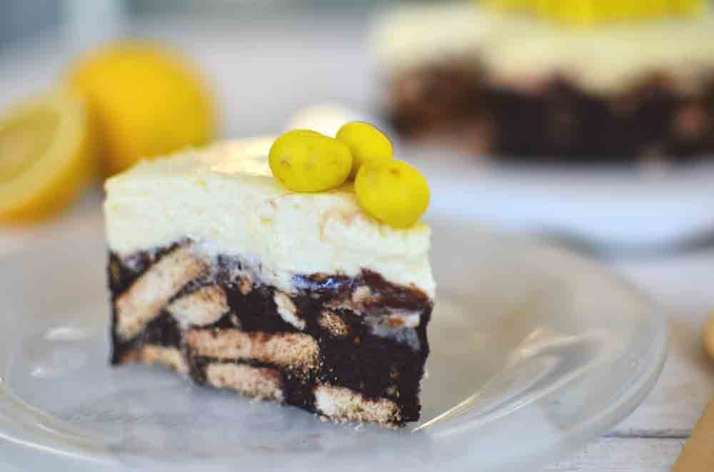 cake, chocolate, salami, lemon pie, dessert, butter, cream cheese, τούρτα λέμον πάι, κορμός σοκολάτας, μπισκότα, cool artisan, Γαβριήλ Νικολαίδης, συνταγή, recipe, απλή, γρήγορη, εύκολη, λίγα υλικά