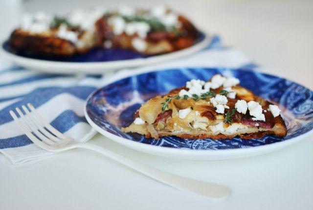onion, pie, sausage, feta cheese