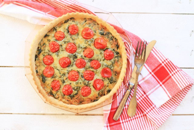 tart, recipe, spinach, pesto, cherry tomato