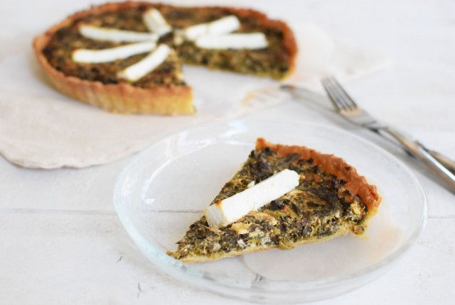 tart, dough, greens, cheese, recipe
