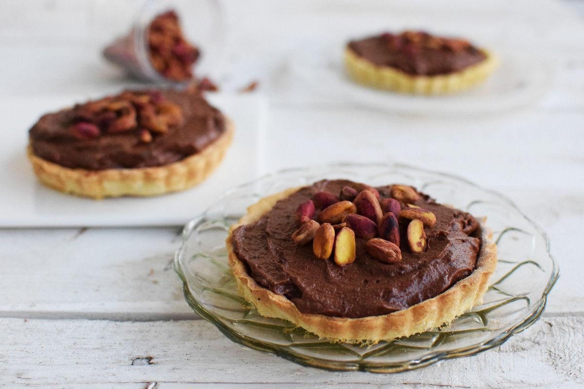 pistachio, chocolate, tart, mini tarts, dessert, recipe