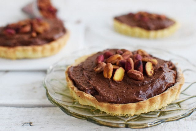 pistachio, chocolate, tart, mini tarts, dessert, recipe