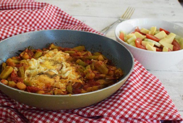 okra, eggs, recipe, greek salad, tomatoes, olive oil, food styling, feedfeed, food52, cool artisan, awarded recipe