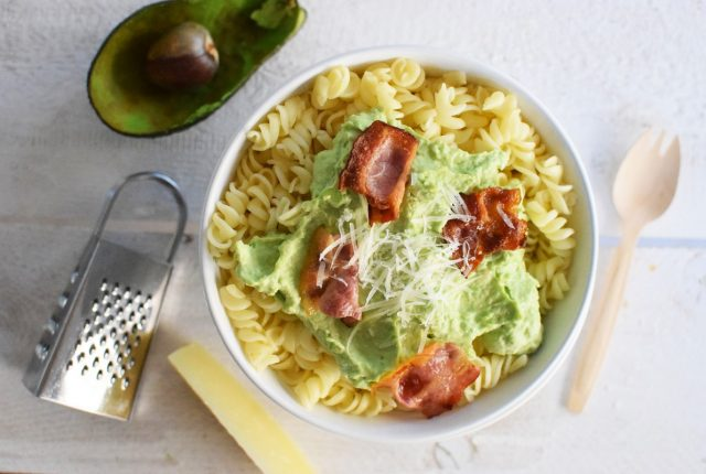 Avocado Carbonara Pasta Recipe, food styling, healthy, bacon, parmesan cheese, saveur mag, eat on white, cool artisan, food blog, best, awards 3