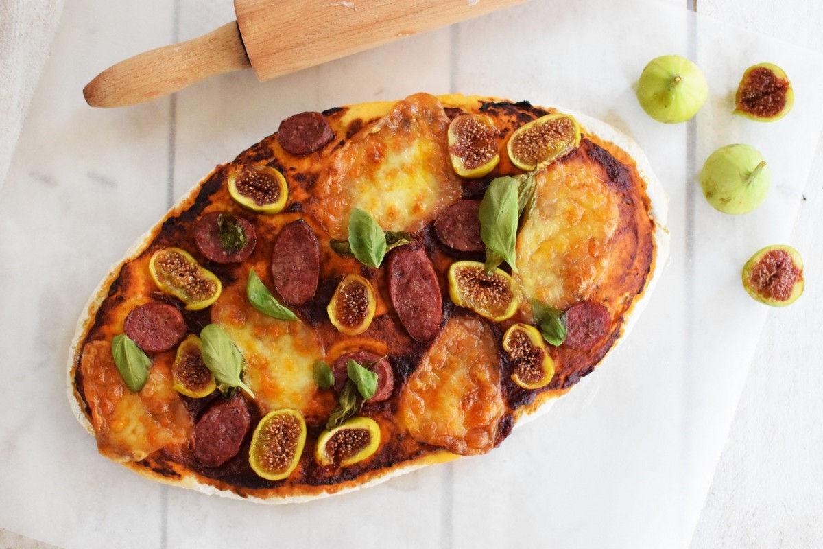 fig and sausage pizza, recipe, cool artisan, gabriel nikolaidis, food styling, saveur mag, food blog, homemade dough, mozzarela, basil, tomato sauce