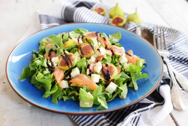 fig salmon salad, recipe, extra virgin olibe oil, orange juice, figs, lemon, lime, smoked salmon, cool artisan