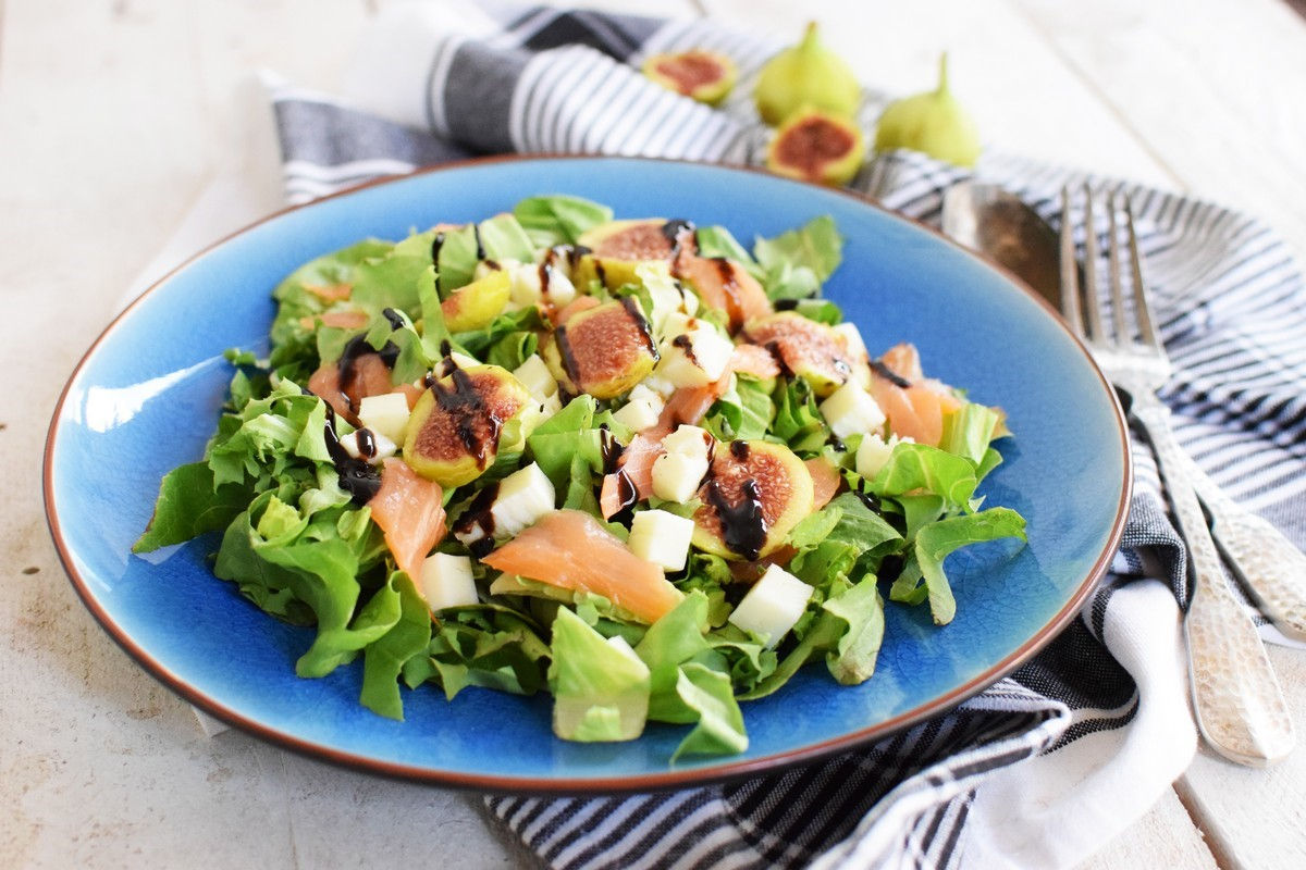 fig salmon salad, recipe, extra virgin olibe oil, orange juice, figs, lemon, lime, smoked salmon, cool artisan